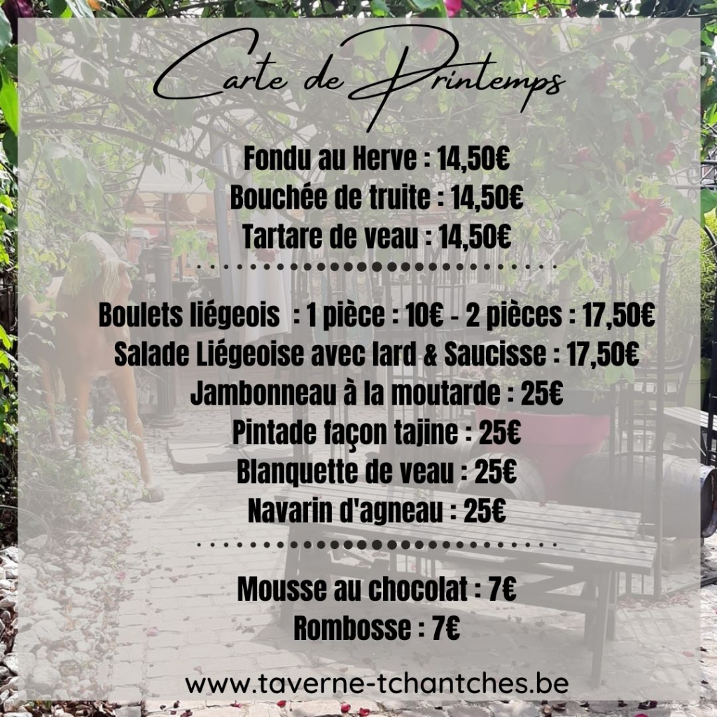 Menu de printemps - Restaurant le Tchantches